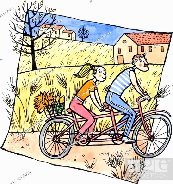 Stock Photo: A couple on a tandem bicycle with autumn leaves and corn in a basket.