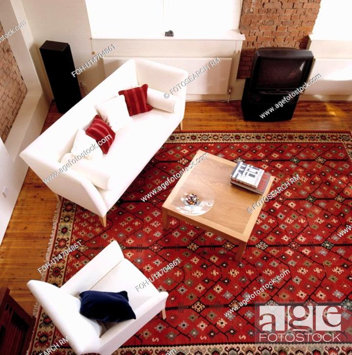 Aerial View Of White Sofa In Modern Living Room With Large Patterned