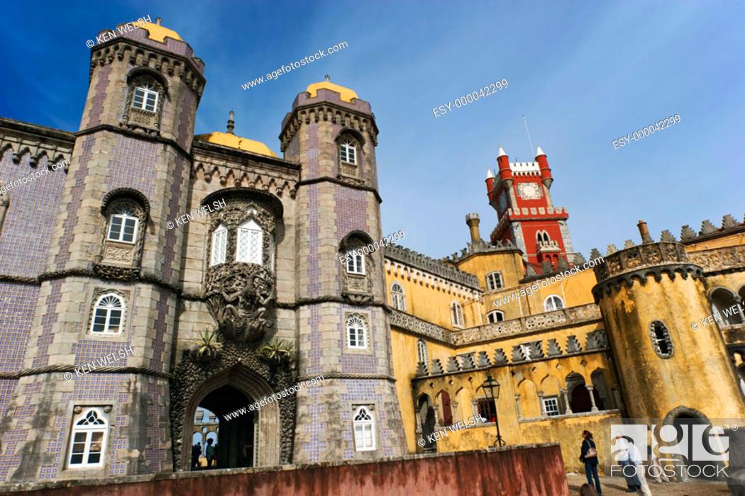 Stock Photo: Castelo da Pena, Portuguese architecture in Romantic style, built in 1839. Sintra. Portugal.