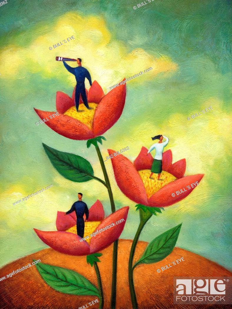 Stock Photo: People standing on flowers looking outwards.