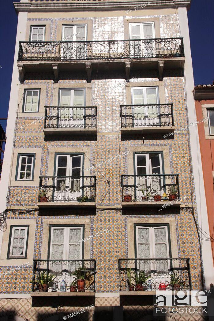 Stock Photo: Residential building along Rua de Sao Bento Lisbon Portugal.