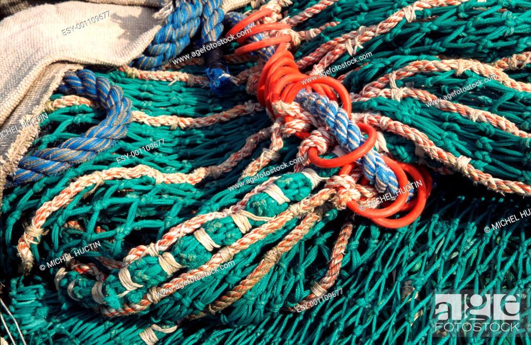 Stock Photo: fishing nets at sea.