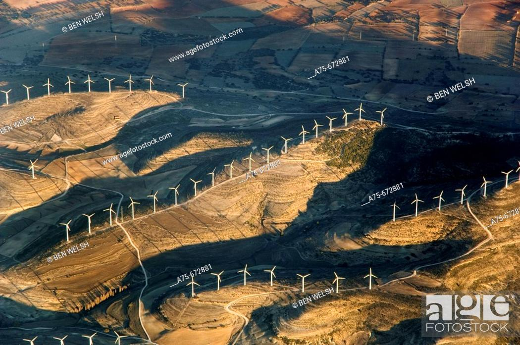 Stock Photo: Aerial view of Windmills, Valencia, Spain.