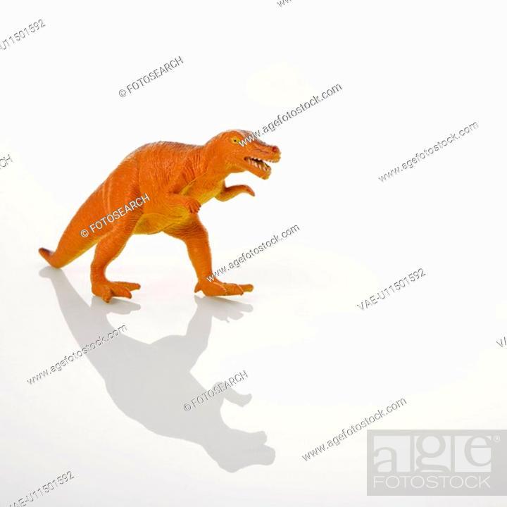 Stock Photo: Plastic toy Tyrannosaurus dinosaur.