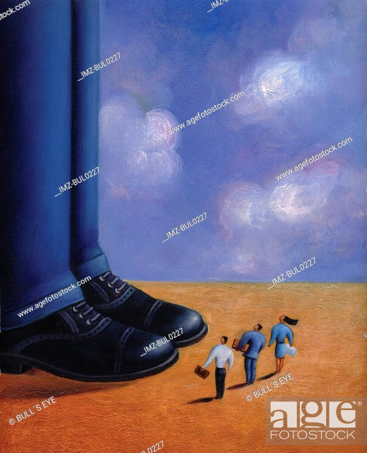 Stock Photo: Three tiny business people standing at the feet of a giant man.