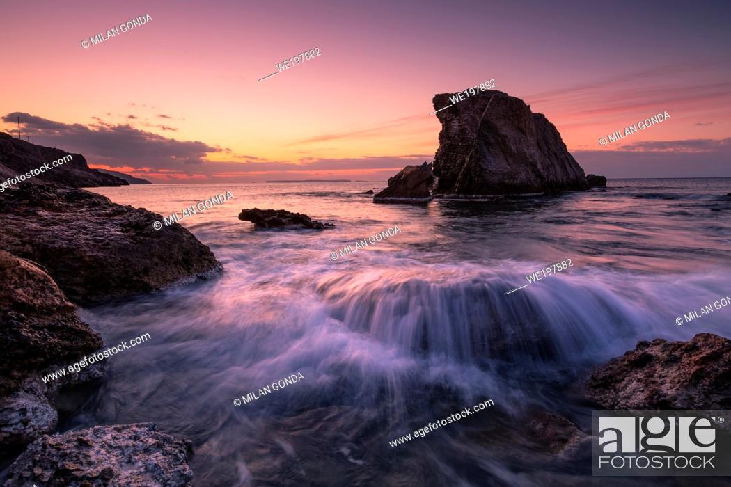 Stock Photo: Sea stack at Kalo Nero village in southern Crete.
