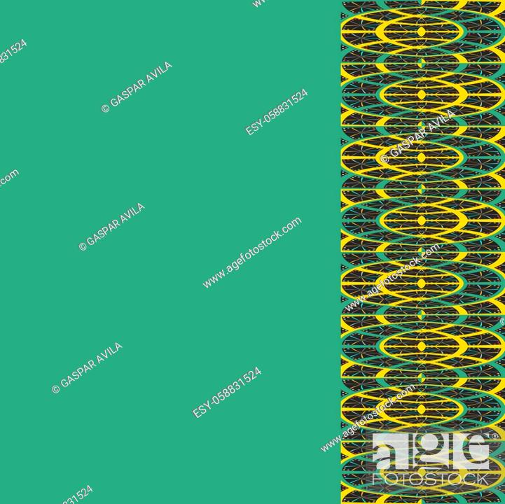 Stock Vector: Complex geometric pattern on an empty green background.