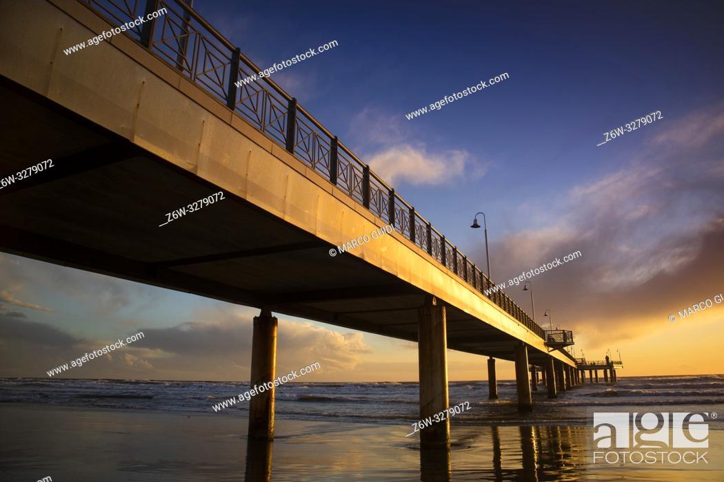 Photo de stock: Sunset view of the pier of Marina di Pietrasanta in Versilia Tuscany Italy.