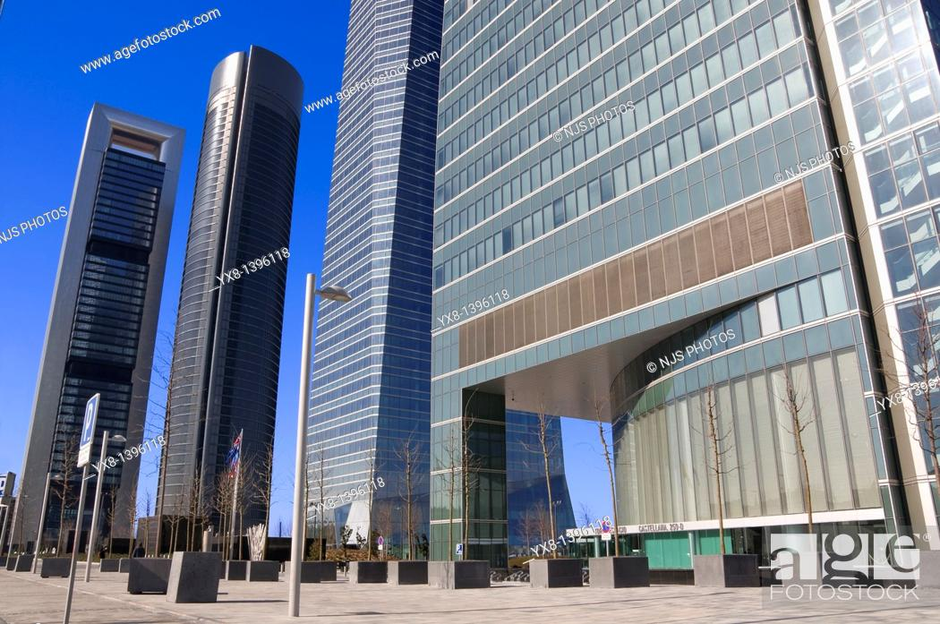 Stock Photo: Entrance of Espacio Tower and behind the another three financial buildings, located in Cuatro Torres Business Area of Madrid, Comunidad de Madrid, Spain, Europe.