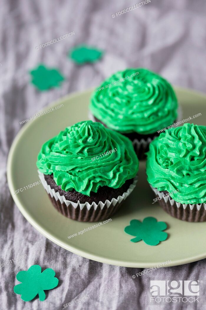 Stock Photo: Cupcakes with green buttercream for St Patrick's Day.