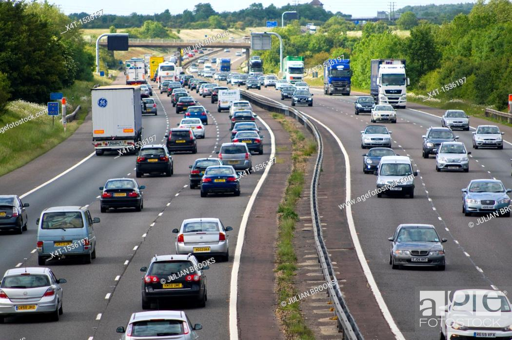 Stock Photo: heavily congested motorway, The M40 in the UK.