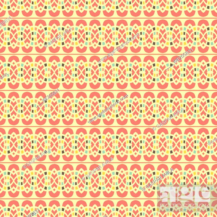Vecteur de stock: Arabic style seamless pattern with colorful geometric shapes.