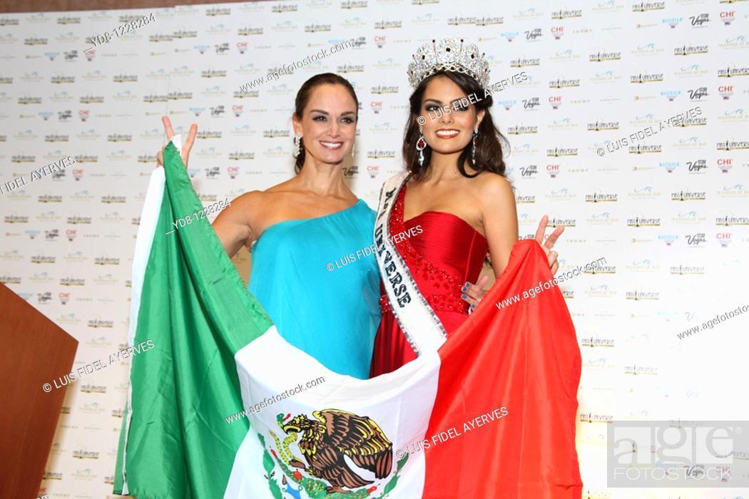 Stock Photo: Ximena Navarrete and Lupita John celebrating the triumph of Miss Universe at the Mandalay Bay Hotel, Las Vegas, Nevada, USA.