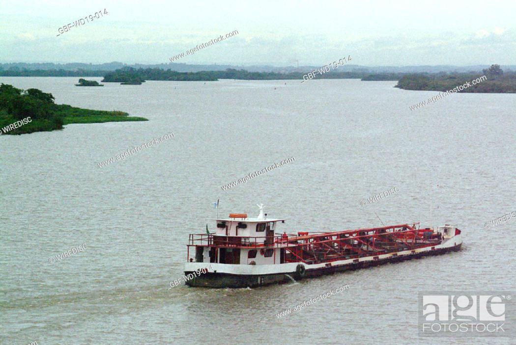 Stock Photo: Boat, Rio Guaiba, Rio Grande do Sul, Brazil.