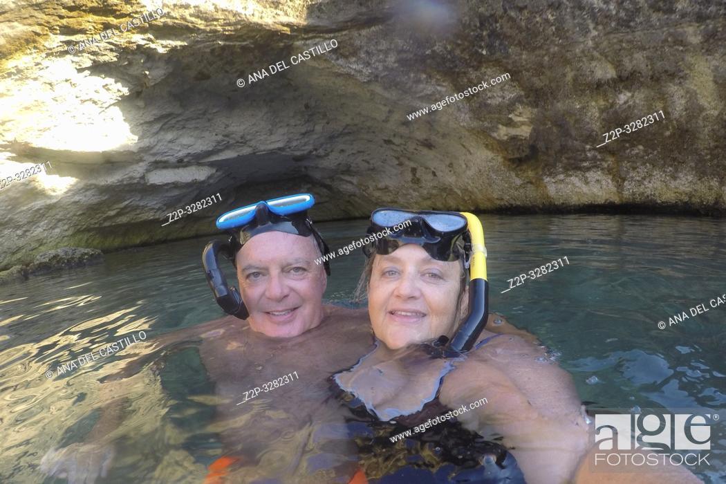 Stock Photo: Couple snorkeling at Italian coast.