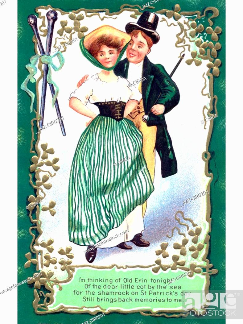 Stock Photo: An Irish poem printed on a vintage card with an illustration of a dancing couple.