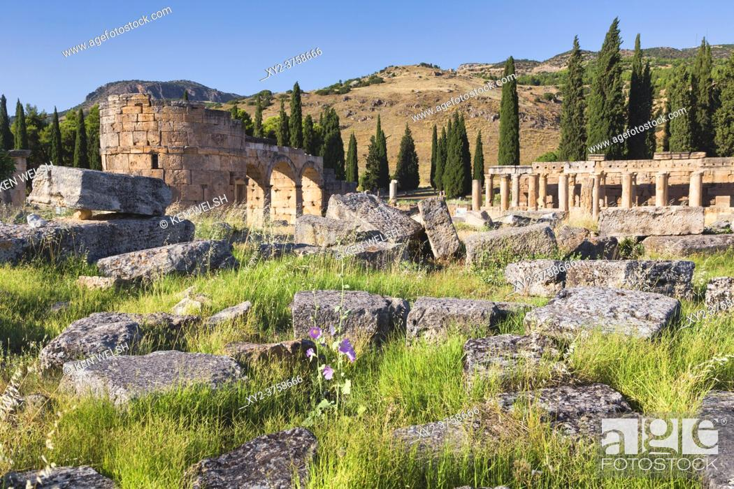 Stock Photo: Hierapolis, Denizli Province, Turkey. Ruins of the ancient city. The northern Roman Gate, also known as the Domitian Gate, or Domitian Arch.