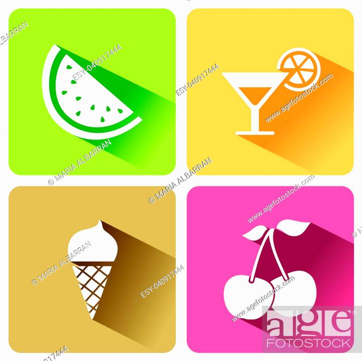 Stock Vector: Summer food icons with shadow on a white background. Vector illustration.