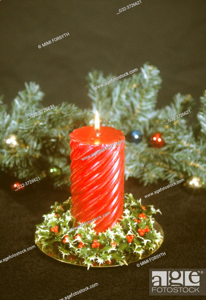 Stock Photo: red candle, Christmas decoration. New Mexico.