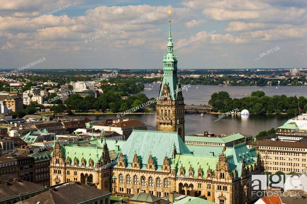 Stock Photo: View over Hamburg City Hall to lake Alster, Hamburg, Germany.