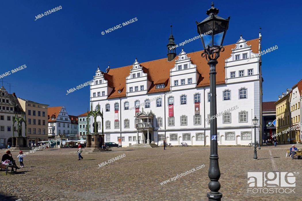Stock Photo: Market with town hall in Wittenberg, Saxony-Anhalt, Germany.