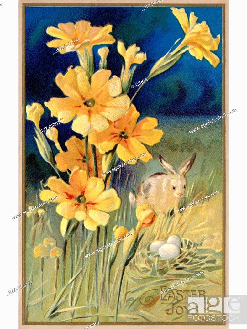 Stock Photo: A vintage Easter postcard of spring flowers, a rabbit and eggs.