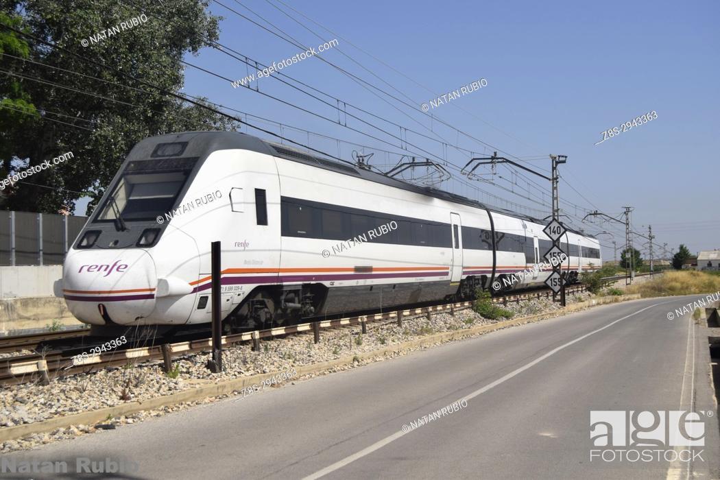 Stock Photo: Murcia - Valencia Regional Train. Algemesi, Valencia, Spain.