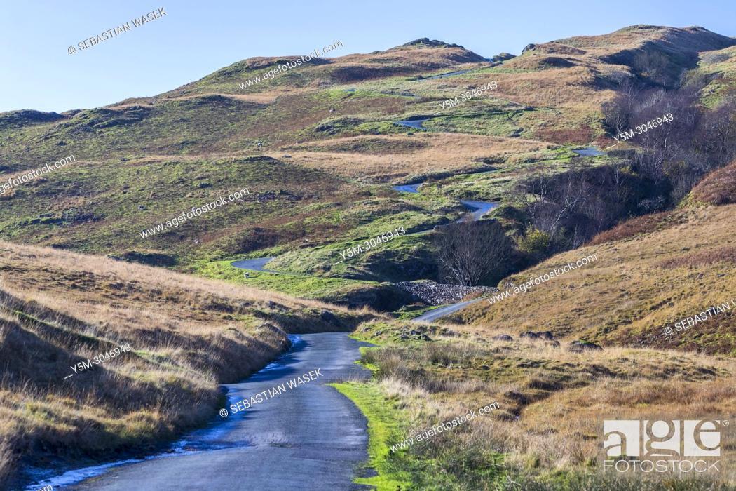 Stock Photo: Hardknott Pass, Lake District National Park, Cumbria, England, United Kingdom, Europe.
