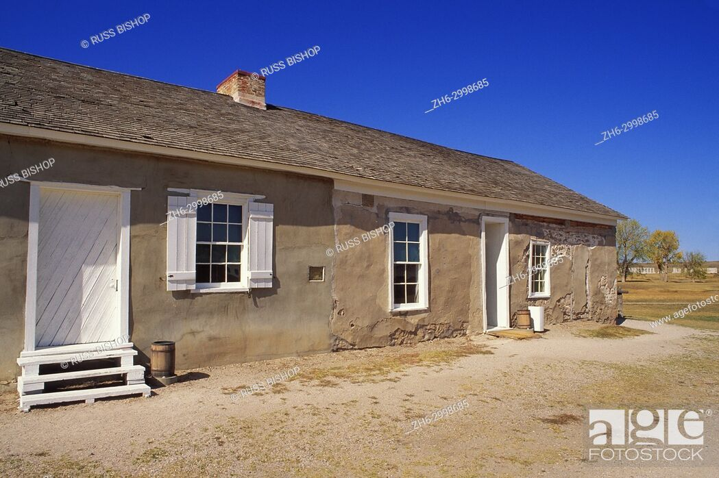 Stock Photo: The post trader's store at Fort Laramie, Fort Laramie National Historic Site, Wyoming USA.