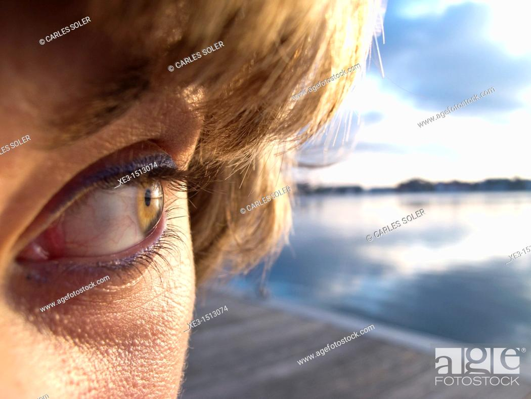 Stock Photo: Girl eye seeing landscape.