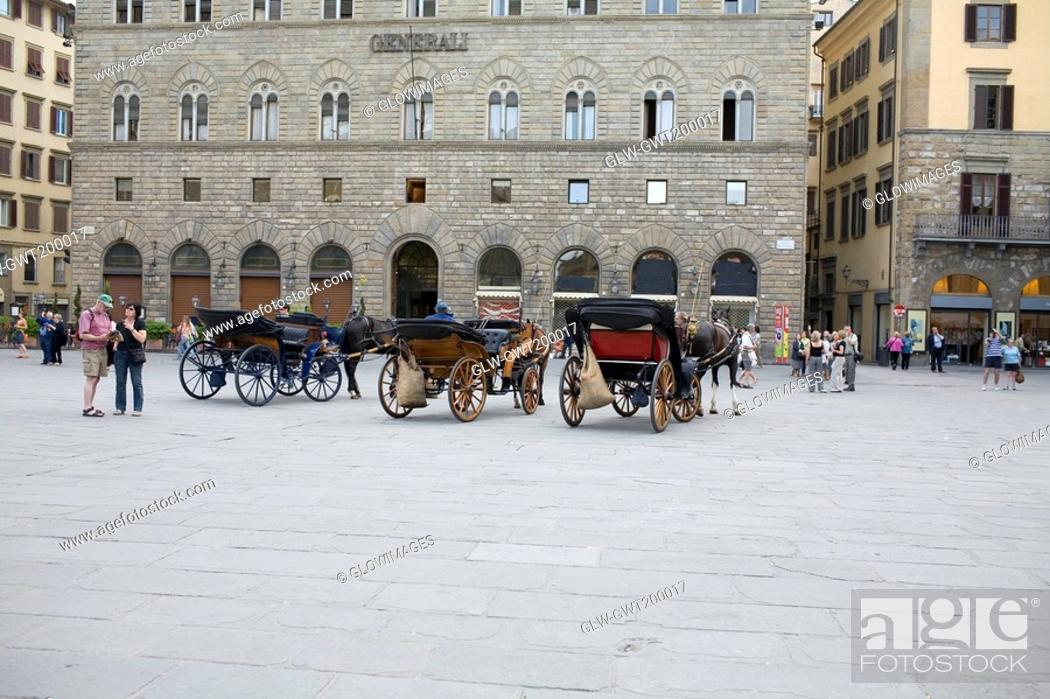Stock Photo: Horsedrawns in front of a building, Florence, Italy.