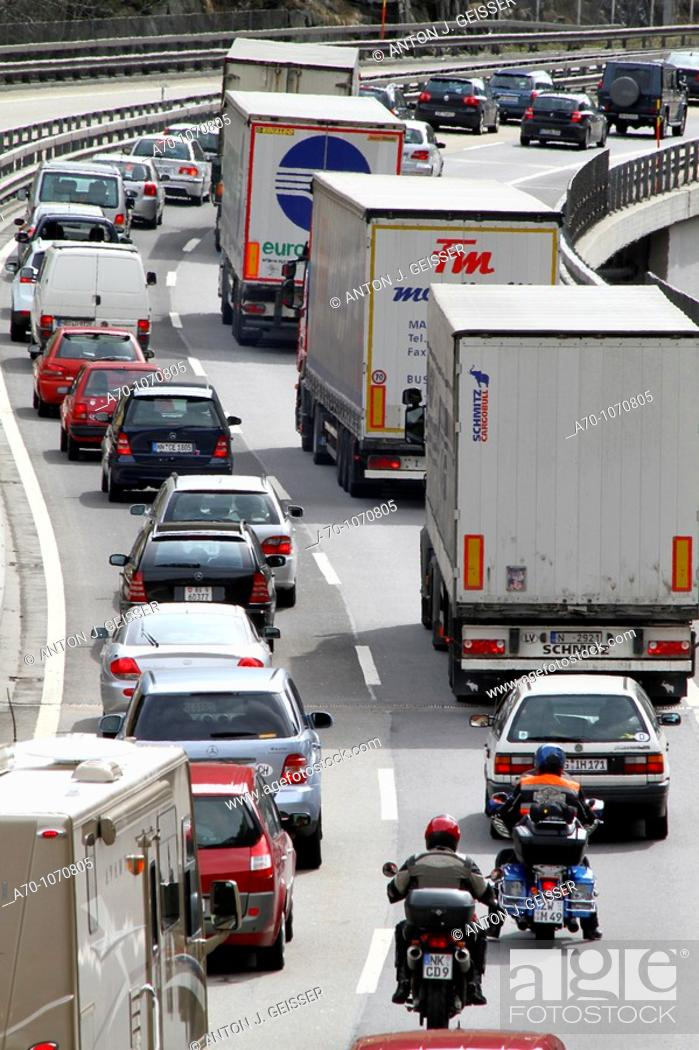 Stock Photo: Traffic Jam an Freeway Gotthard Switzerland.
