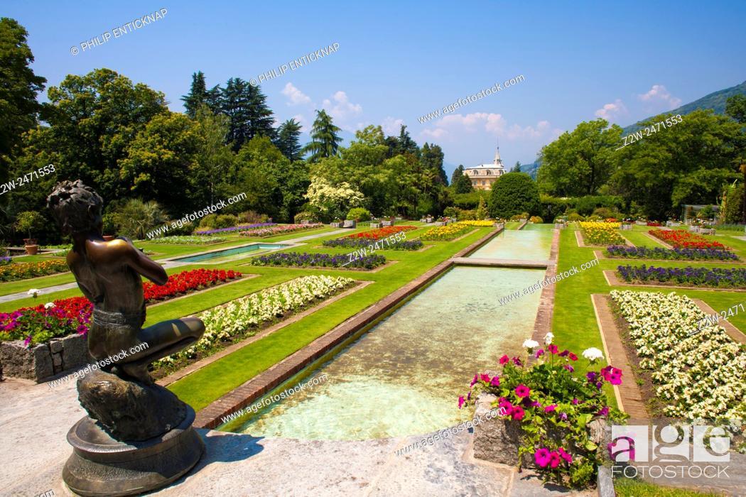 Stock Photo: The terraced garden , bronze statue â. œThe Fisherâ. œ, masterwork of the Neapolitan artist Vincenzo Gemito.