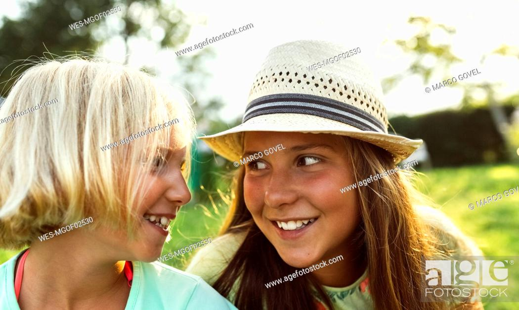 Stock Photo: Two best friends face to face.