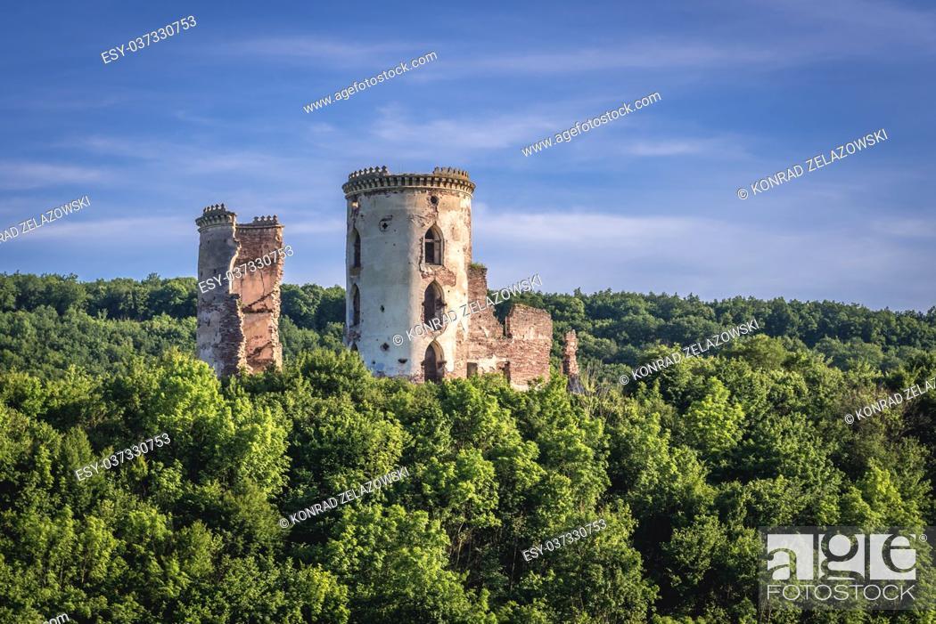 Stock Photo: Ruins of Polish castle in former Chervonohorod town (also called Chervone) in Zalischyky Raion, Ternopil Oblast of western Ukraine.