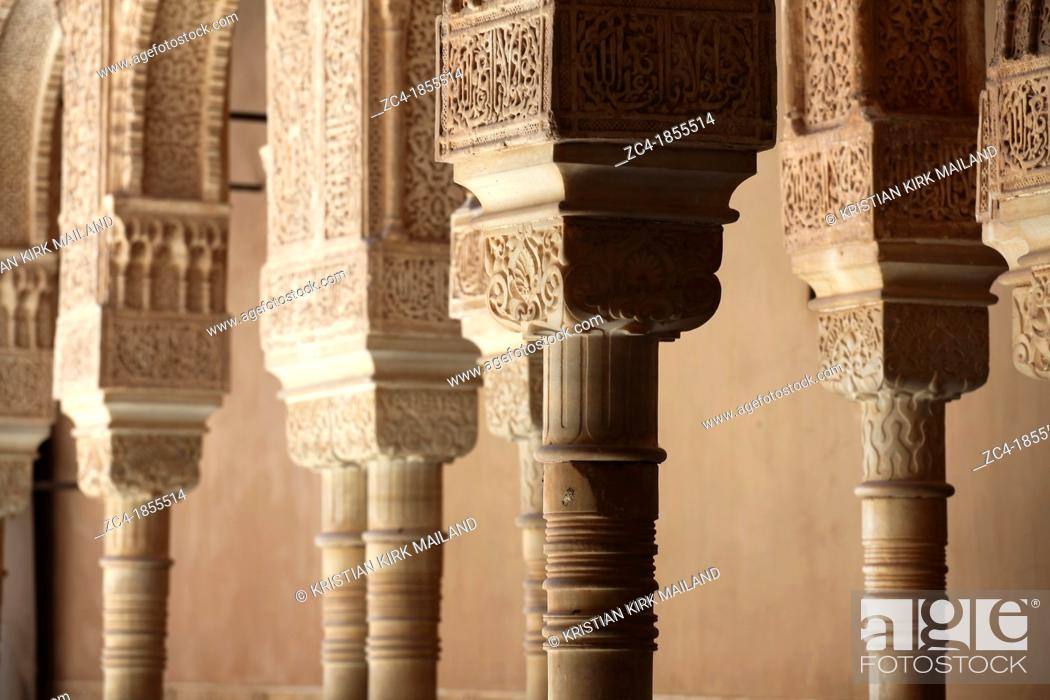 Stock Photo: Court of the lions, Alhambra, Granada, Andalusia, Spain.