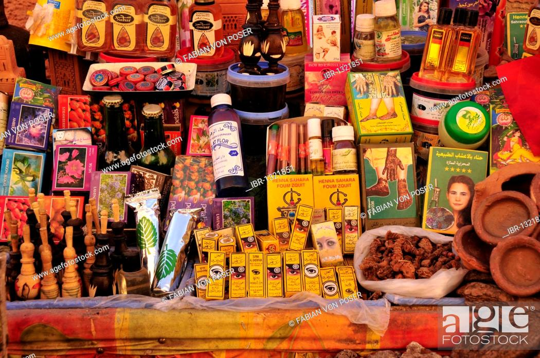 Stock Photo: Stall with oriental oils and spices in a souq, market, in the historic city centre of Marrakech, Morocco, Africa.