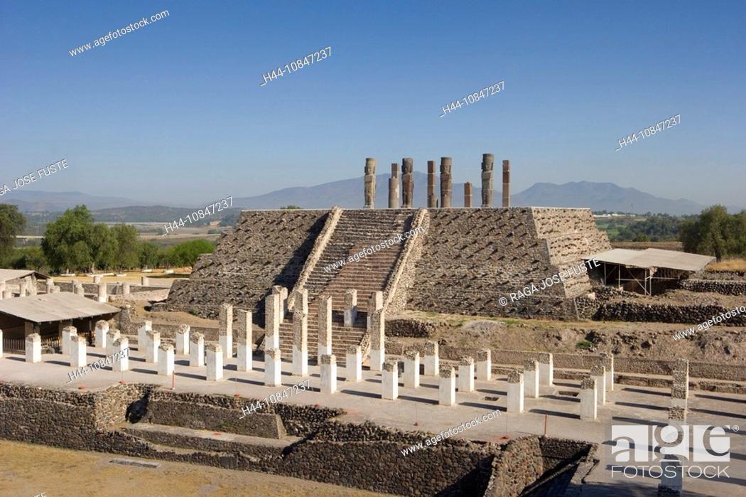 Stock Photo: Mexico, Central America, America, Tula city, Toltec culture, UNESCO, World heritage site, Quetzalcoatl Temple, Statues.