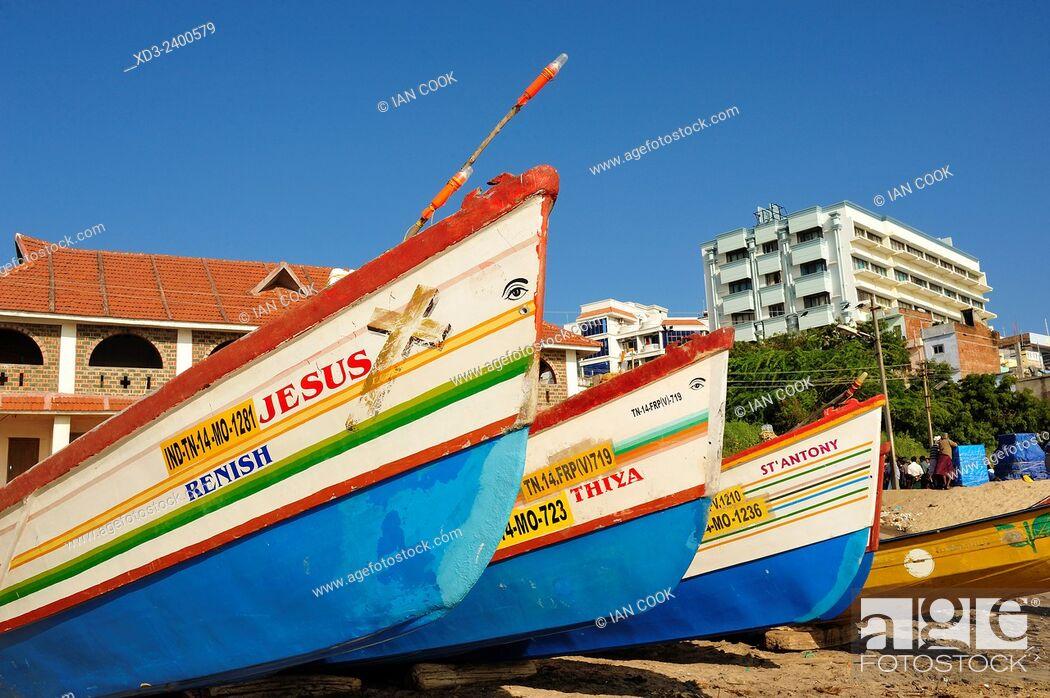 Stock Photo: fishing boats on the beach, Kanyakumari, Tamil Nadu, India.
