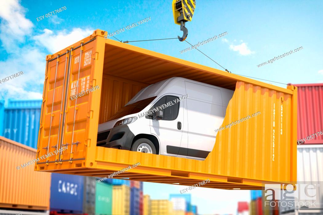 Stock Photo: Car import export, transportation, shipment and delivery concept. Van inside of conteiner loading by crane. 3d illustration.