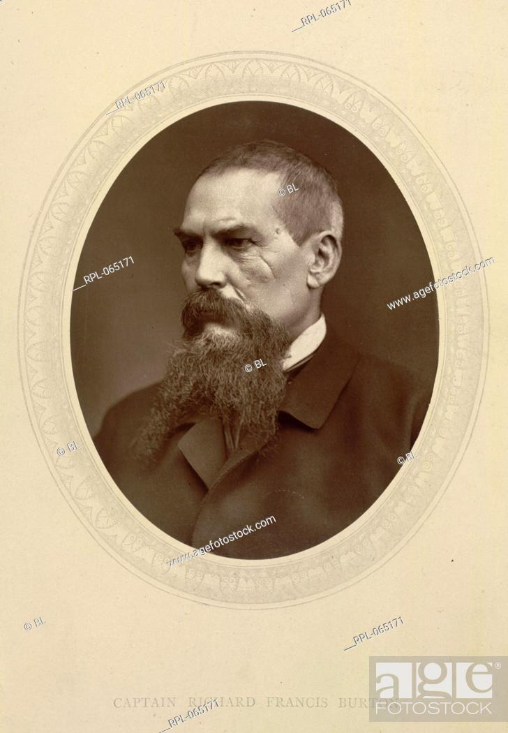 Stock Photo: Captain Sir Richard Francis Burton 1821-90. English explorer linguist and diplomat. Portrait. Image taken from Men of Mark: a gallery of contemporary portraits.