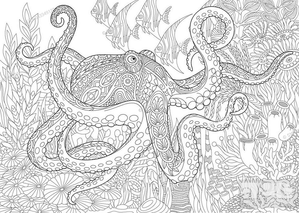 Shark, octopus, tropical fishes, treasure chest with gold, ocean ... | 700x980