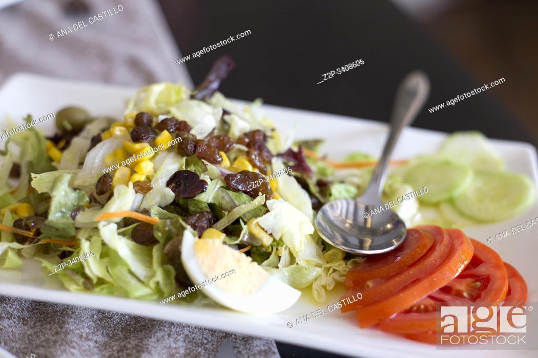 Stock Photo: Salad with tomato lettuce egg and raisins Spain.