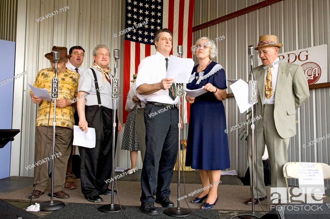 1940s radio theater actors at Mid-Atlantic Air Museum World War II
