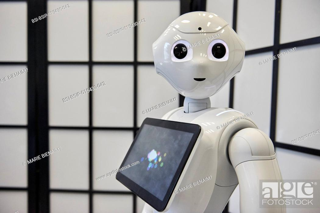 Stock Photo: Reportage in the U1208 Lab at Inserm, which studies cognitive sciences and robot-human communication. The team works with two robots.