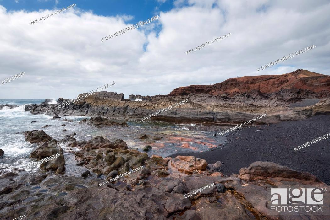 Stock Photo: Volcanic coastline landscape in Lanzarote, Canary islands, Spain.