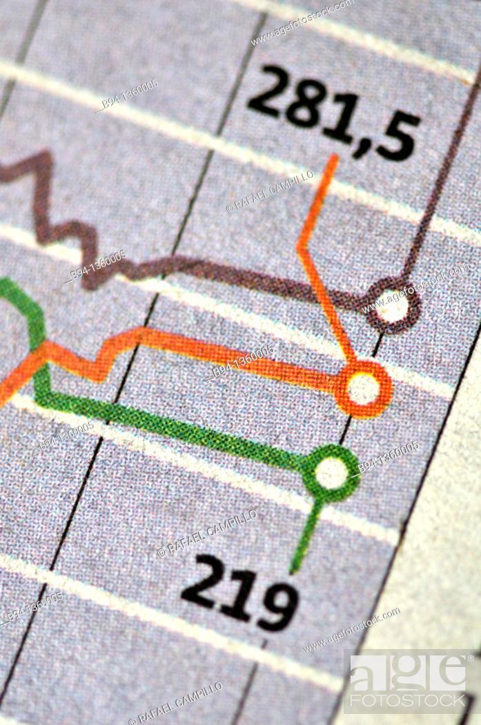 Stock Photo: Economic graphics in newspaper.