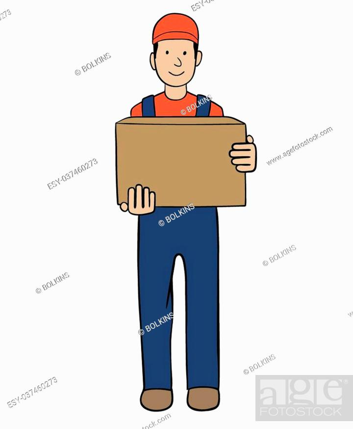 Stock Vector: This is an illustration of delivery service worker.