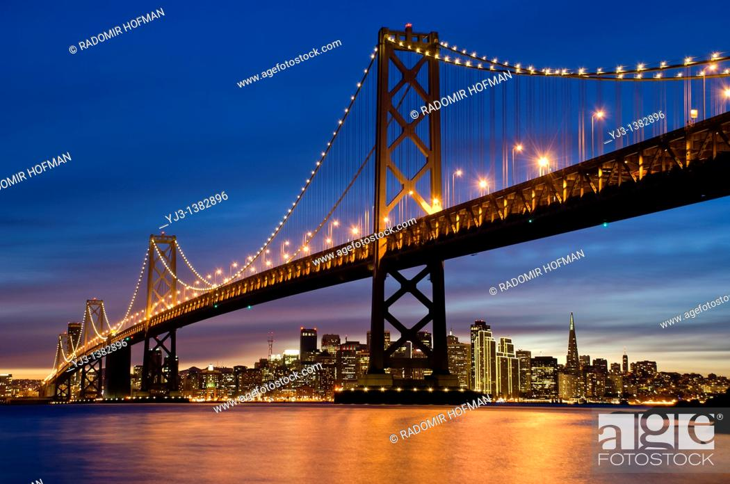 Stock Photo: San Francisco Bay Bridge at night, California, USA.