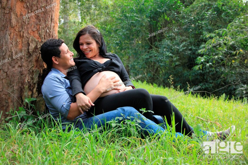 Stock Photo: Hispanic couple expecting first child.